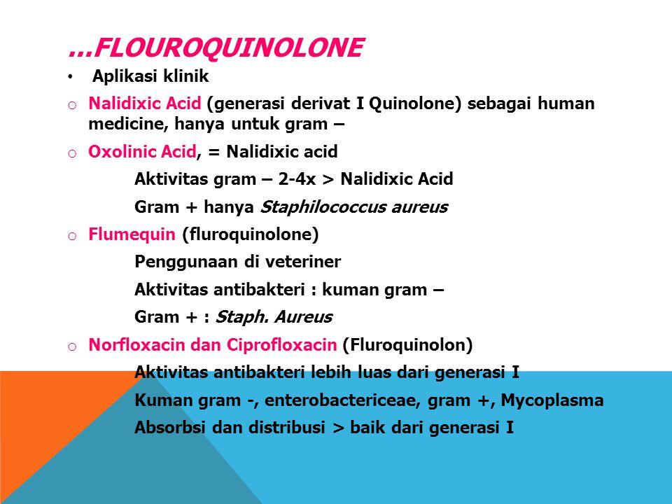 ...FLOUROQUINOLONE Aplikasi klinik