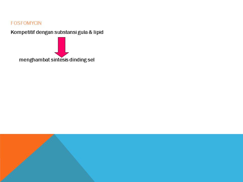 FOSFOMYCIN Kompetitif dengan substansi gula & lipid menghambat sintesis dinding sel