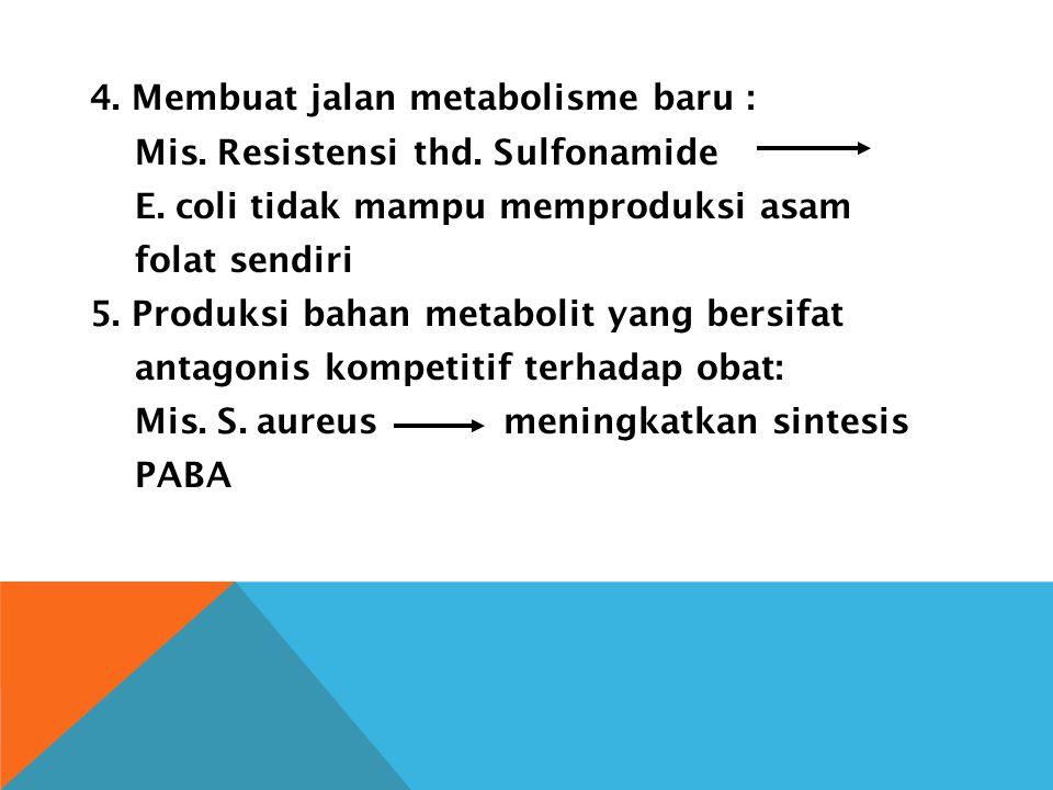 4. Membuat jalan metabolisme baru : Mis. Resistensi thd. Sulfonamide E