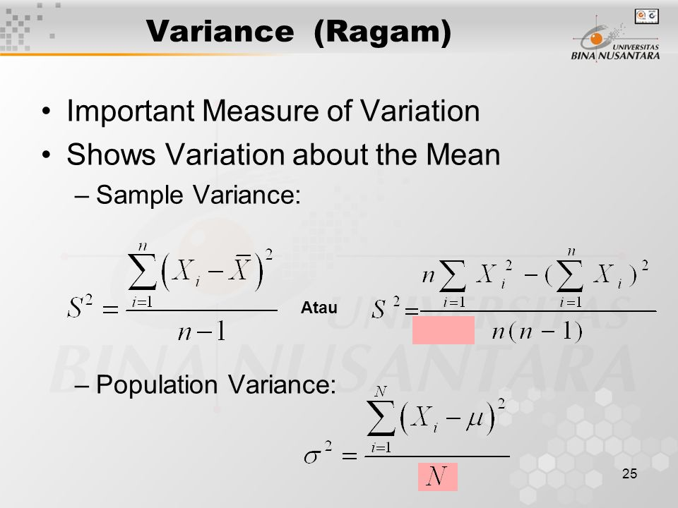 Important Measure of Variation Shows Variation about the Mean