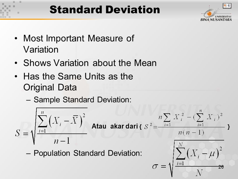 Standard Deviation Most Important Measure of Variation