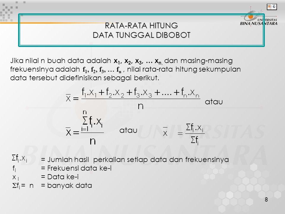 RATA-RATA HITUNG DATA TUNGGAL DIBOBOT