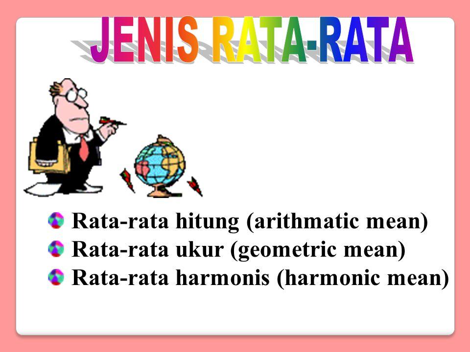 JENIS RATA-RATA Rata-rata hitung (arithmatic mean) Rata-rata ukur (geometric mean) Rata-rata harmonis (harmonic mean)