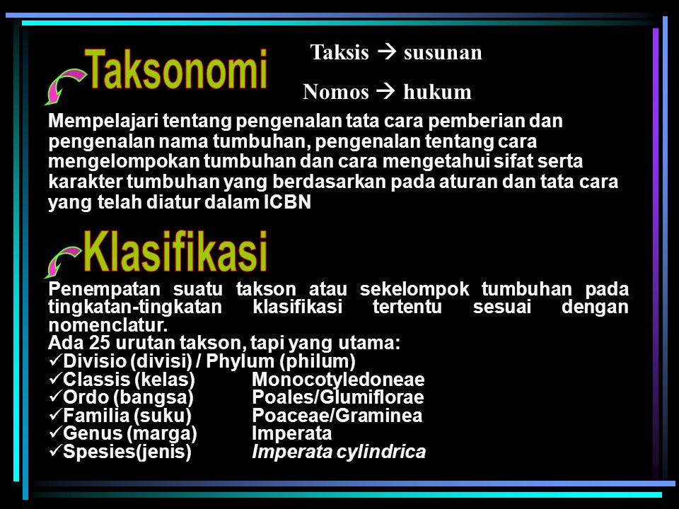 Taksonomi Klasifikasi Taksis  susunan Nomos  hukum