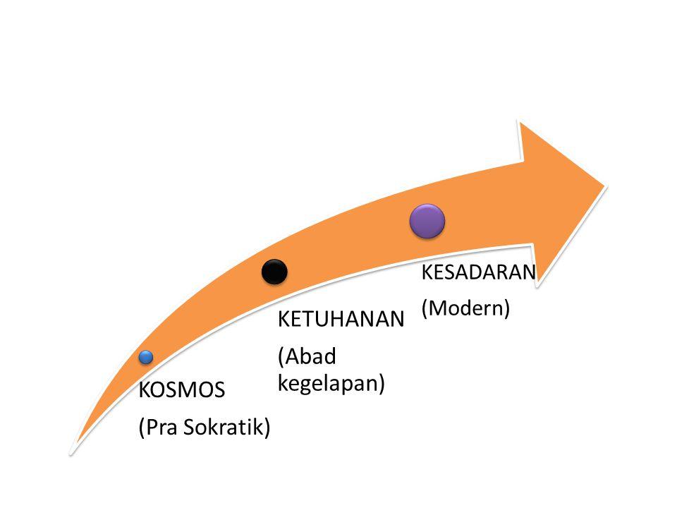 KOSMOS (Pra Sokratik) KETUHANAN (Abad kegelapan) KESADARAN (Modern)