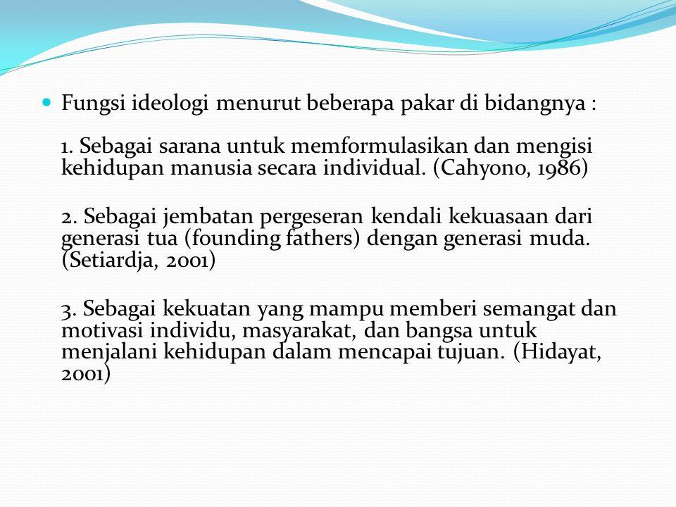 Fungsi ideologi menurut beberapa pakar di bidangnya : 1