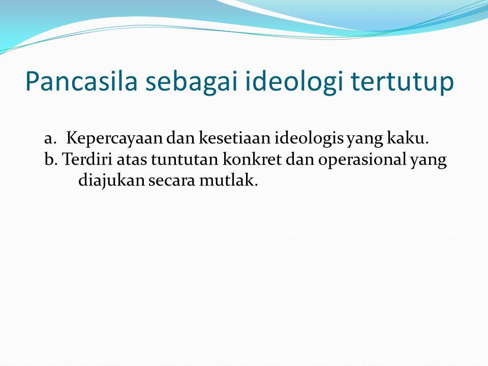 Pancasila sebagai ideologi tertutup