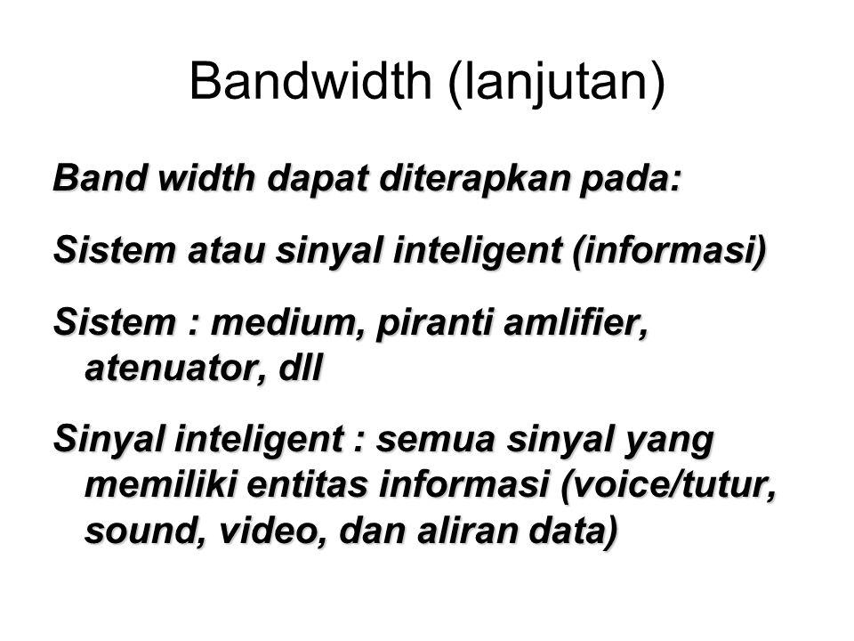 Bandwidth (lanjutan) Band width dapat diterapkan pada: