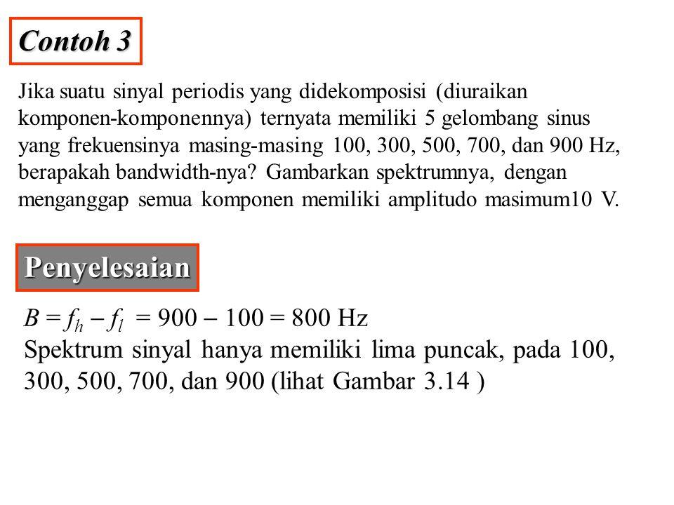 Contoh 3 Penyelesaian B = fh - fl = 900 - 100 = 800 Hz