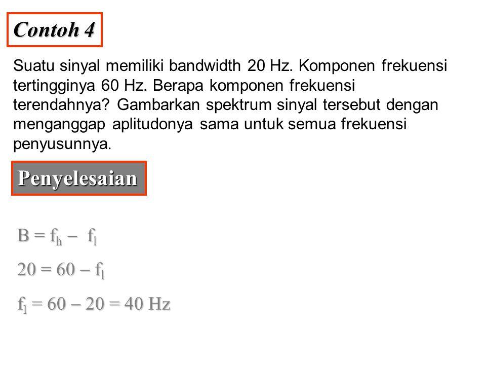 Contoh 4 Penyelesaian B = fh - fl 20 = 60 - fl fl = 60 - 20 = 40 Hz