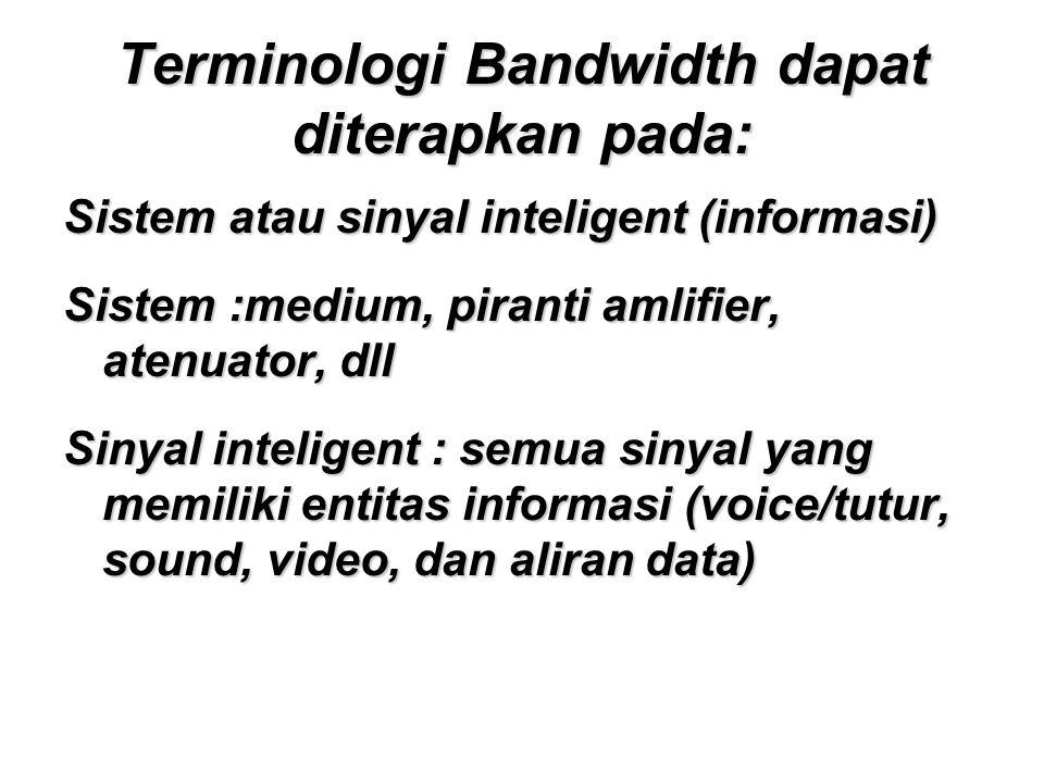 Terminologi Bandwidth dapat diterapkan pada: