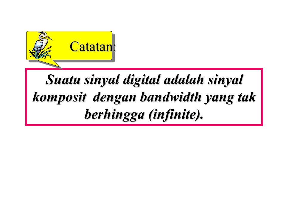 Catatan: Suatu sinyal digital adalah sinyal komposit dengan bandwidth yang tak berhingga (infinite).