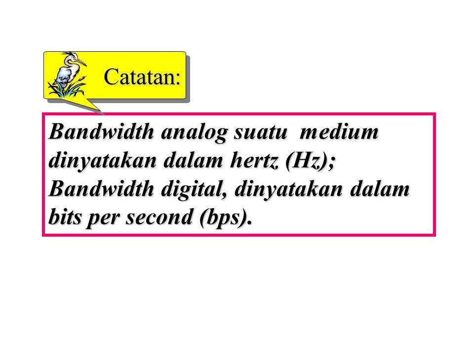 Catatan: Bandwidth analog suatu medium dinyatakan dalam hertz (Hz); Bandwidth digital, dinyatakan dalam bits per second (bps).