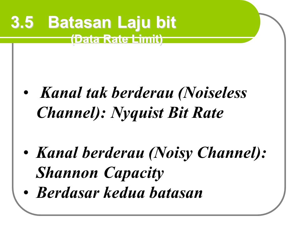 Kanal tak berderau (Noiseless Channel): Nyquist Bit Rate