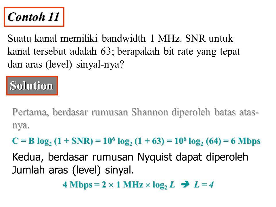 Contoh 11 Suatu kanal memiliki bandwidth 1 MHz. SNR untuk kanal tersebut adalah 63; berapakah bit rate yang tepat dan aras (level) sinyal-nya