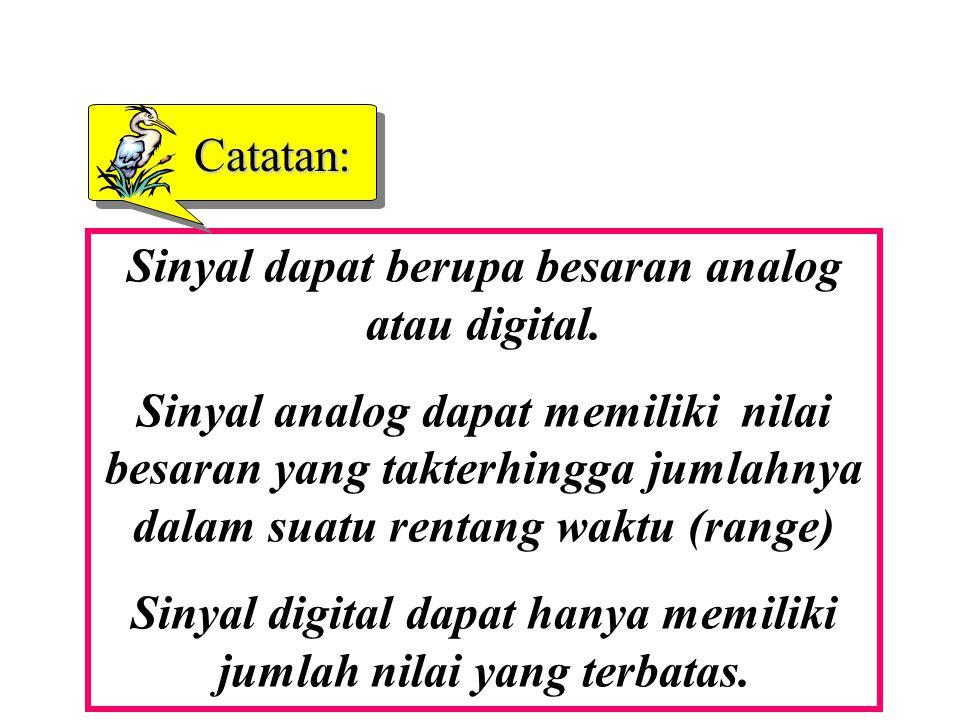 Sinyal dapat berupa besaran analog atau digital.