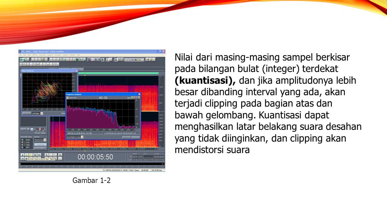 Nilai dari masing‑masing sampel berkisar pada bilangan bulat (integer) terdekat (kuantisasi), dan jika amplitudonya lebih besar dibanding interval yang ada, akan terjadi clipping pada bagian atas dan bawah gelombang. Kuantisasi dapat menghasilkan latar belakang suara desahan yang tidak diinginkan, dan clipping akan mendistorsi suara