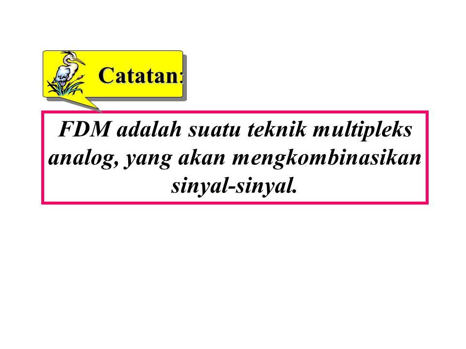 Catatan: FDM adalah suatu teknik multipleks analog, yang akan mengkombinasikan sinyal-sinyal.