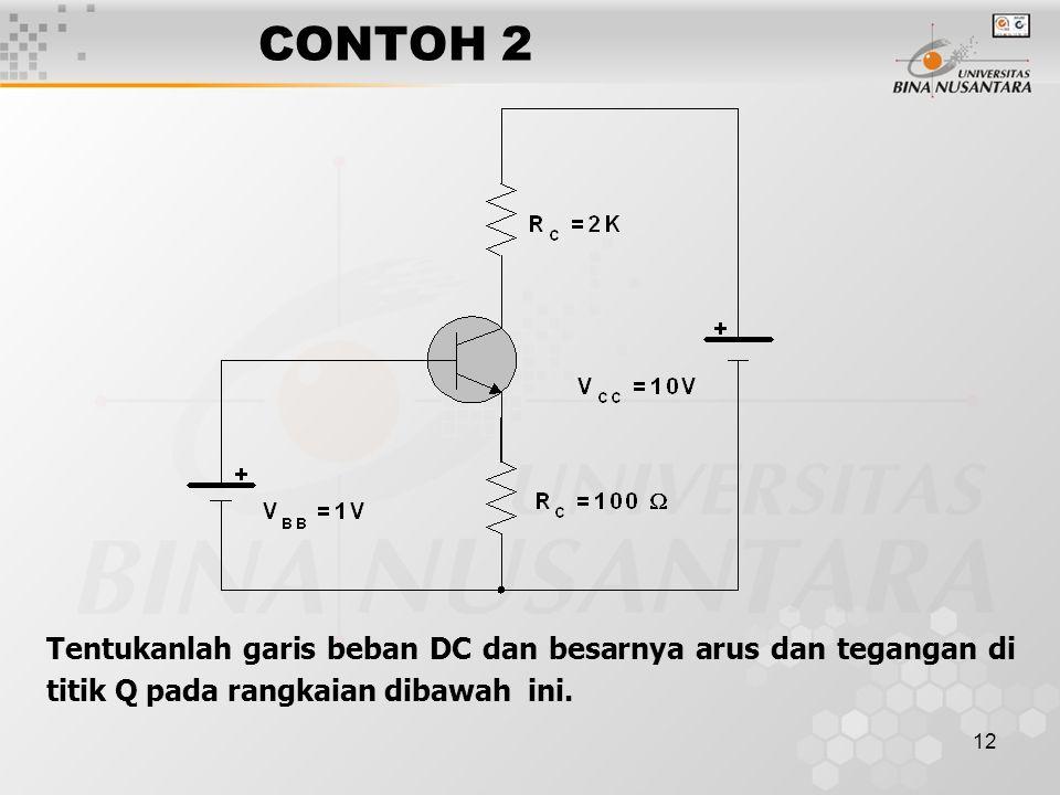 CONTOH 2 Tentukanlah garis beban DC dan besarnya arus dan tegangan di titik Q pada rangkaian dibawah ini.
