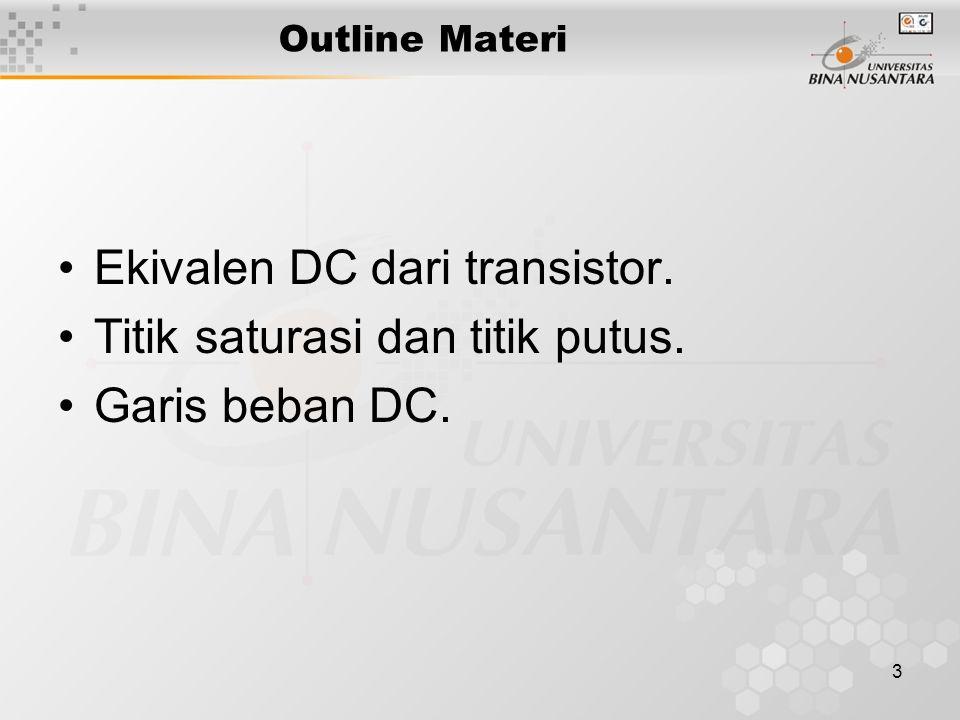 Ekivalen DC dari transistor. Titik saturasi dan titik putus.