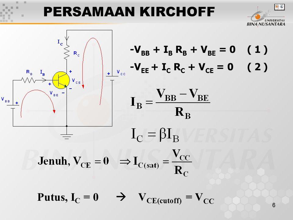 PERSAMAAN KIRCHOFF Putus, IC = 0  VCE(cutoff) = VCC