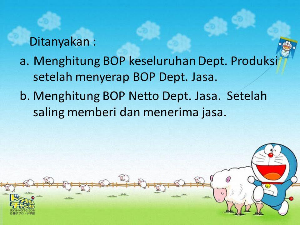 Ditanyakan : Menghitung BOP keseluruhan Dept. Produksi setelah menyerap BOP Dept. Jasa.