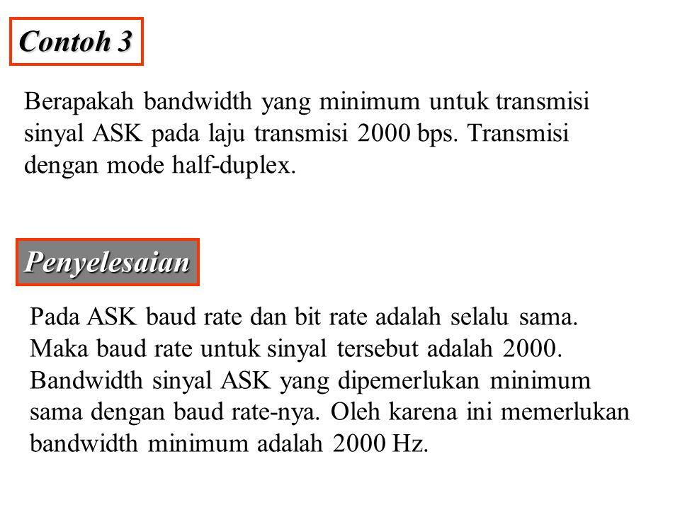 Contoh 3 Berapakah bandwidth yang minimum untuk transmisi sinyal ASK pada laju transmisi 2000 bps. Transmisi dengan mode half-duplex.