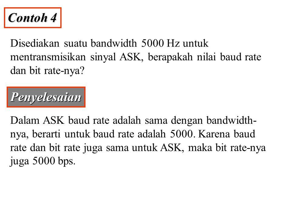 Contoh 4 Disediakan suatu bandwidth 5000 Hz untuk mentransmisikan sinyal ASK, berapakah nilai baud rate dan bit rate-nya
