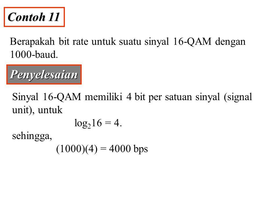 Contoh 11 Berapakah bit rate untuk suatu sinyal 16-QAM dengan 1000-baud. Penyelesaian.