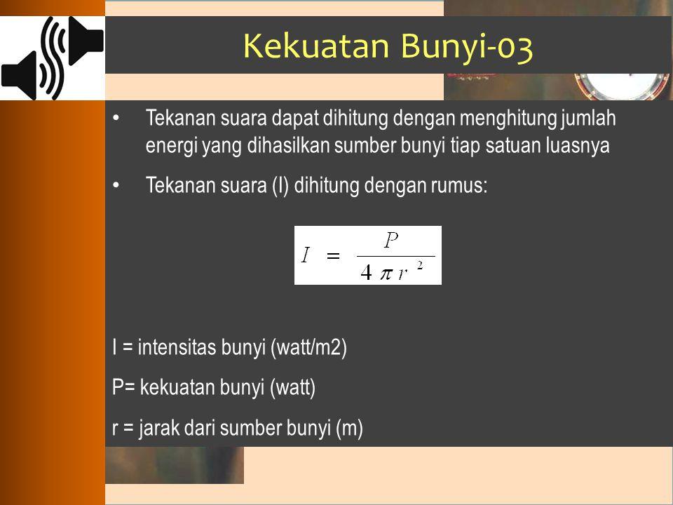 Kekuatan Bunyi-03 Tekanan suara dapat dihitung dengan menghitung jumlah energi yang dihasilkan sumber bunyi tiap satuan luasnya.