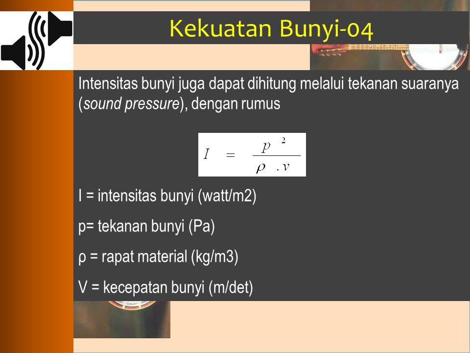 Kekuatan Bunyi-04 Intensitas bunyi juga dapat dihitung melalui tekanan suaranya (sound pressure), dengan rumus.