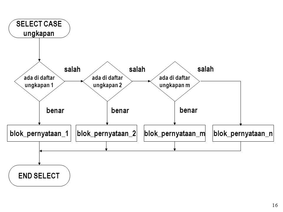 SELECT CASE ungkapan blok_pernyataan_1 END SELECT benar salah
