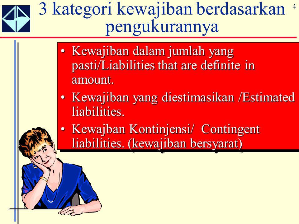 3 kategori kewajiban berdasarkan pengukurannya