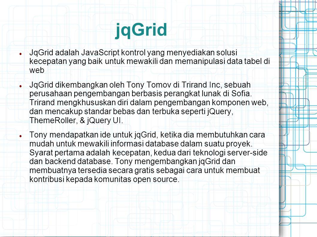 jqGrid JqGrid adalah JavaScript kontrol yang menyediakan solusi kecepatan yang baik untuk mewakili dan memanipulasi data tabel di web.