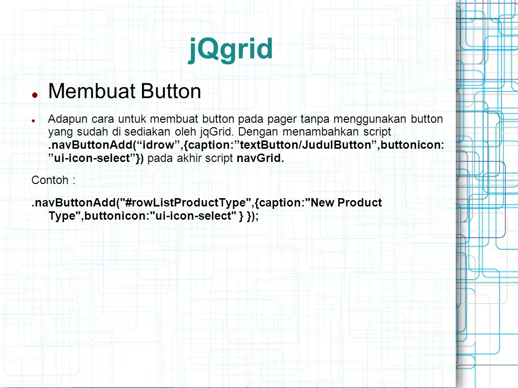 jQgrid Membuat Button.