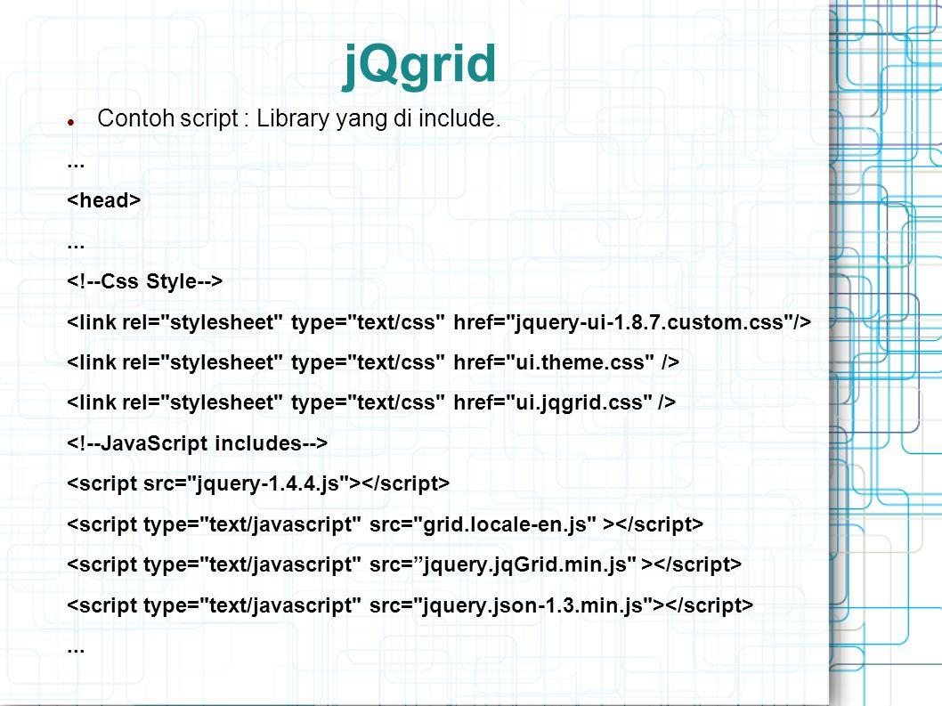 jQgrid Contoh script : Library yang di include. ... <head>