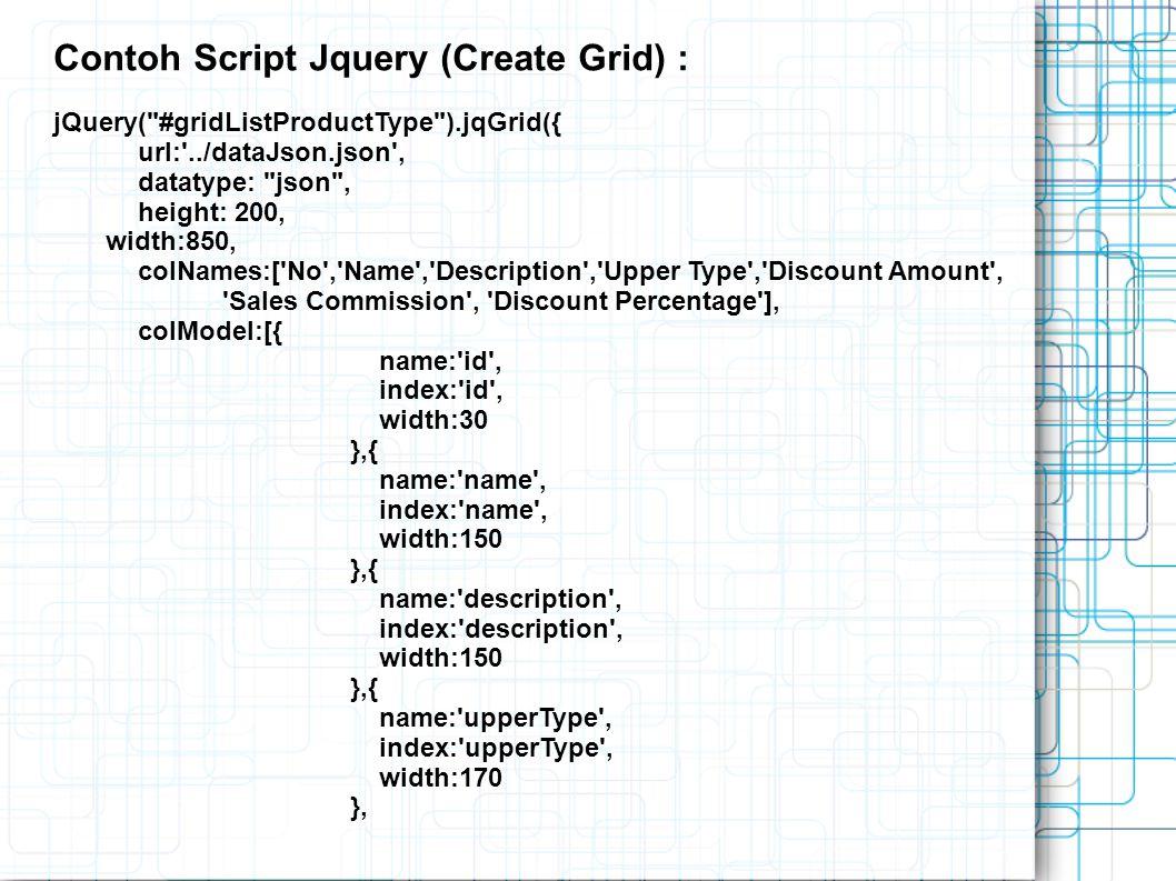 Contoh Script Jquery (Create Grid) :