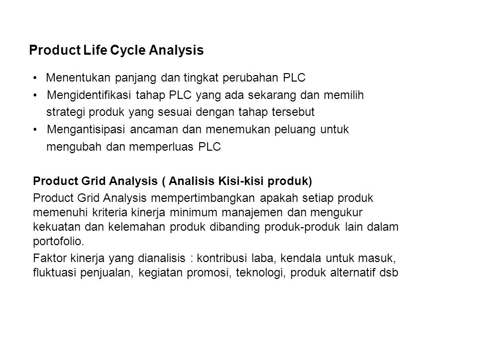 Product Life Cycle Analysis