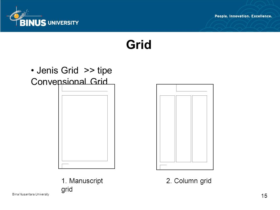 Grid Jenis Grid >> tipe Convensional Grid 1. Manuscript grid