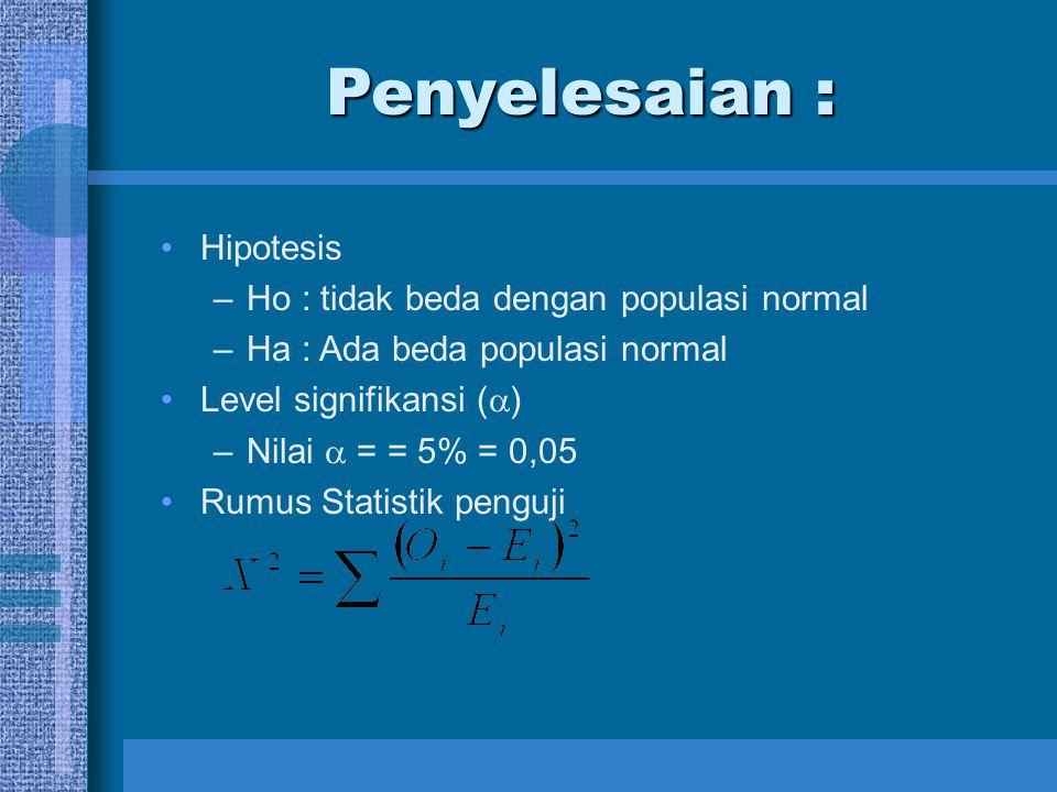 Penyelesaian : Hipotesis Ho : tidak beda dengan populasi normal