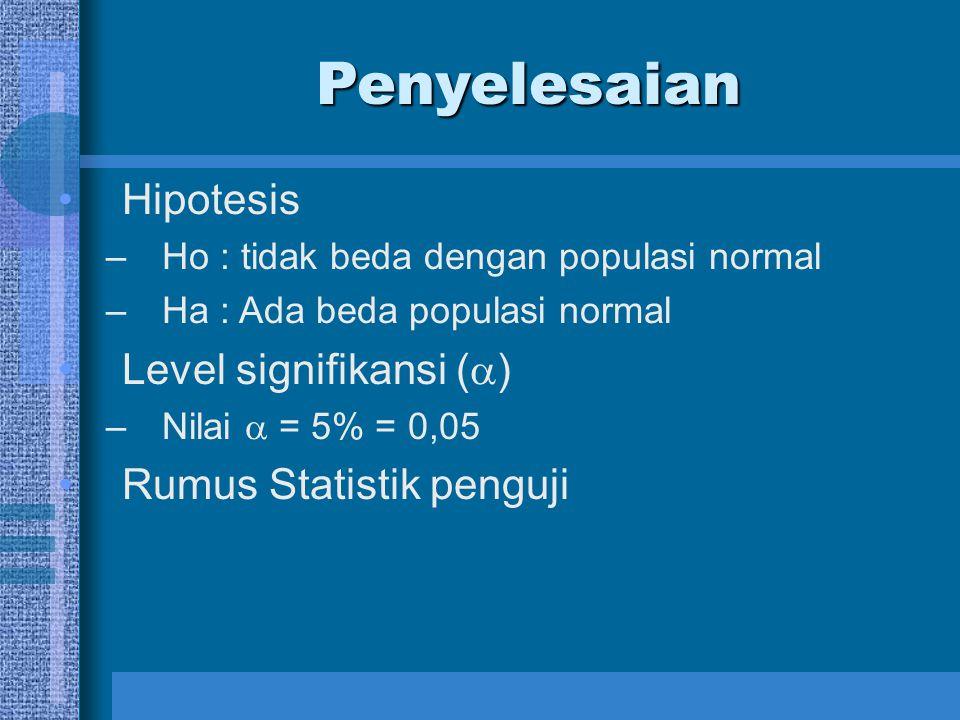 Penyelesaian Hipotesis Level signifikansi () Rumus Statistik penguji