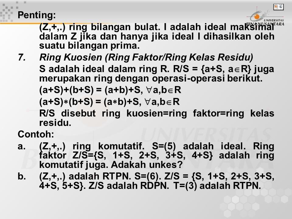 Penting: (Z,+,.) ring bilangan bulat. I adalah ideal maksimal dalam Z jika dan hanya jika ideal I dihasilkan oleh suatu bilangan prima.