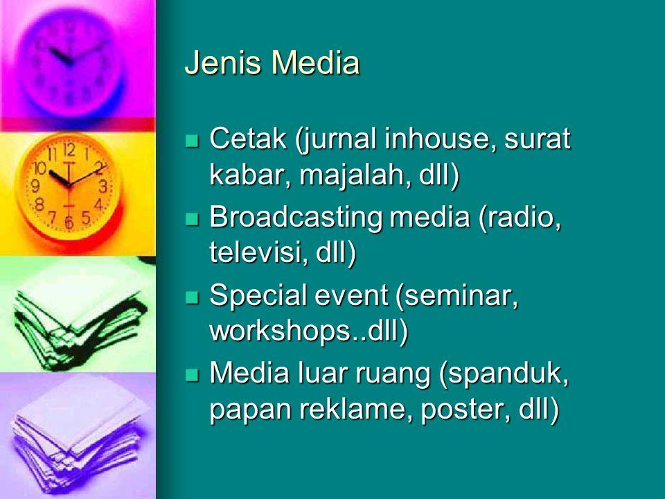 Jenis Media Cetak (jurnal inhouse, surat kabar, majalah, dll)
