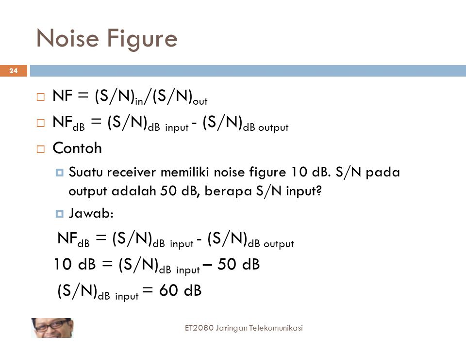 Noise Figure NF = (S/N)in/(S/N)out