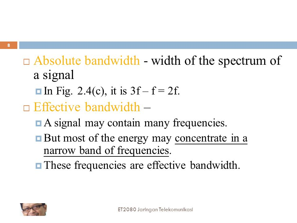 Absolute bandwidth - width of the spectrum of a signal