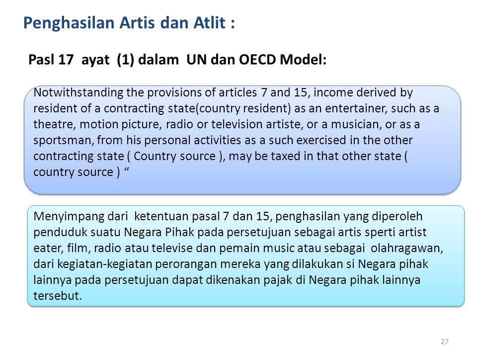 Penghasilan Artis dan Atlit :