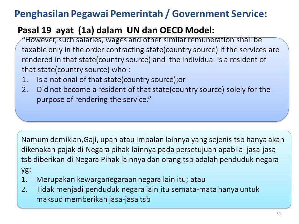 Penghasilan Pegawai Pemerintah / Government Service:
