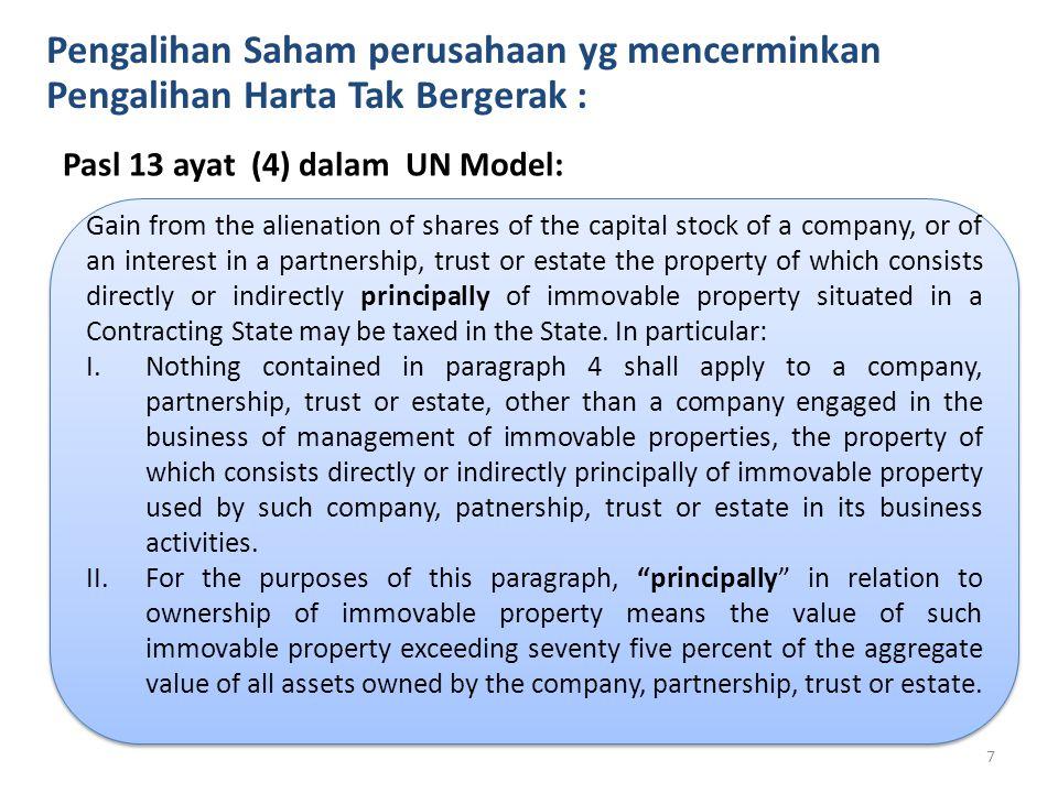 IHT Pengalihan Saham perusahaan yg mencerminkan Pengalihan Harta Tak Bergerak : Pasl 13 ayat (4) dalam UN Model: