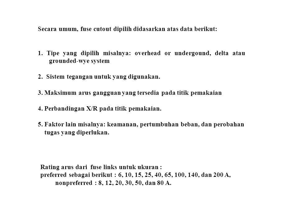 Secara umum, fuse cutout dipilih didasarkan atas data berikut: