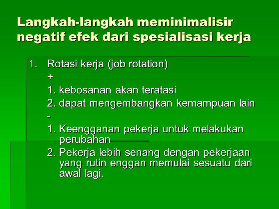 Langkah-langkah meminimalisir negatif efek dari spesialisasi kerja